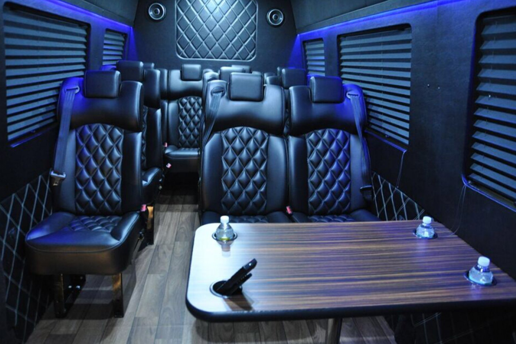 Skyline Chicago Limo Cars Luxury Fleet Black Mercedes Sprinter Interior Alt October 2020